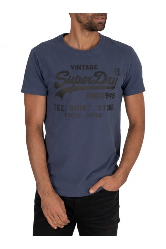 SUPERDRY VL SHIRT SHOP BONDED TEE LAUREN NAVY M1010100A-JUA