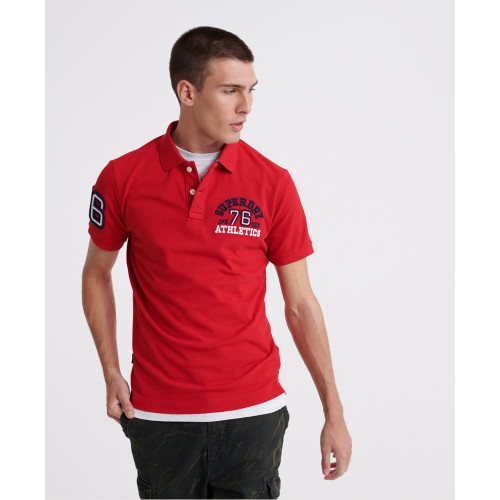 SUPERDRY CLASSIC SUPERSTATE S/S POLO ROUGE RED M1110008A-WA7